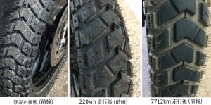 Heidenau K60 Scout 前輪の変化(左から、新品、220キロ走行後、7712キロ走行後)